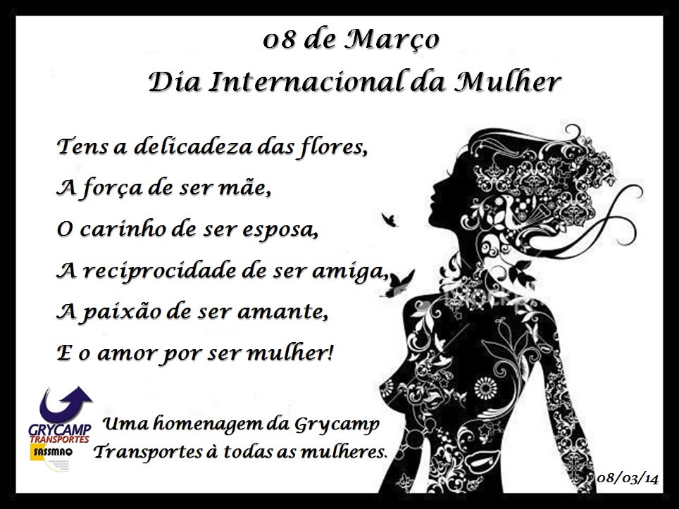 Dia Internacional da Mulher - Grycamp Transportes